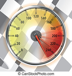 Speedometer with Flag - Concept - Winner, Champion. Detailed...