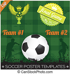 Soccer Poster with Players with Ball on grunge background,...