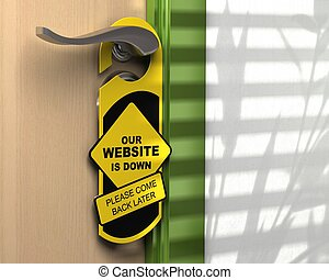 website down written onto a yellow door hanger, informative...