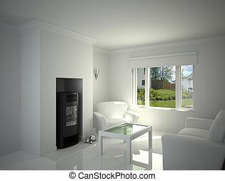White livingroom.