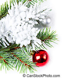 Christmas background with red ball  and fir branch