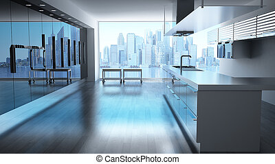 Modern High tech kitchen with view on skyscrapers cityscape.