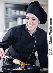 Chef, preparando, comida