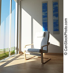 Chair on a room corner, besides a large window in the sun. -...