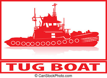 Tug boat. - Tug boat in red silhouette.