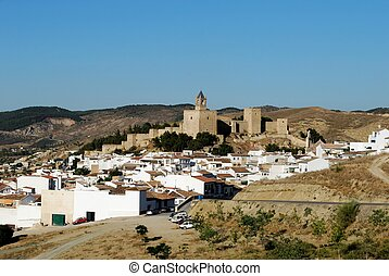 Castle and town, Antequera, Spain - Castle fortress with...