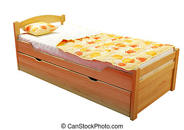children wooden bed