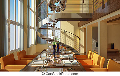 Modern dining room with wide windows and spiral staircase. -...