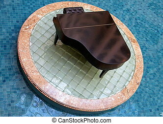 Washington Concert Grand Piano in the pool