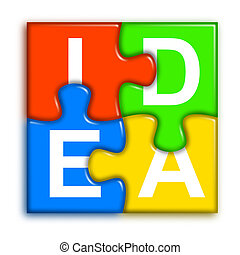 Combined multi-color puzzle - idea concept 2 - four...