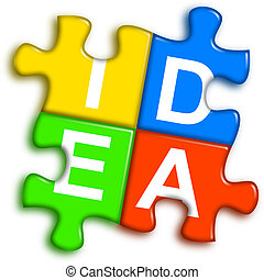 Combined multi-color puzzle - idea concept - four...
