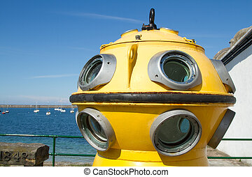 Diving apparatus - The viewing portals of a vintage diving...