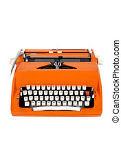Classic orange typewriter on white background