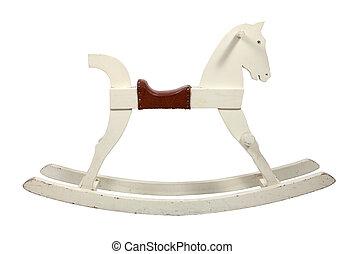 White wooden rocking horse chair children on white...