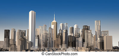 Modern cityscape in daylight Close up view Buildings are...