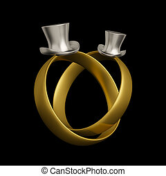 Homosexual wedding rings conceptual design with two 19th...