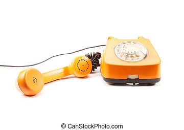 Orange retro telephone