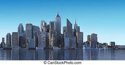 Cityscape generic with modern buildings and skyscrapers on...