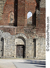 The Facade of the Abbey of San Galgano, Tuscany,