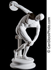 Classical white marble statue of naked discus thrower...