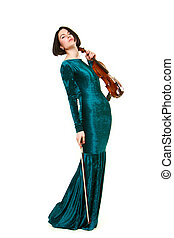 Girl with violin on white - Girl in green dress with violin...