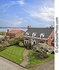 View of the brick classic houses and water in Tacoma, WA.