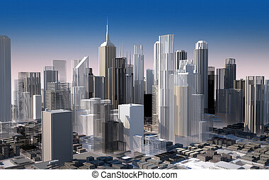 Modern cityscape in daylight. Close up view. Buildings are...