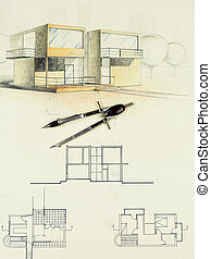 architectural sketch of modern house with compasses -...