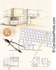house sketch, coffee, pencil, keyboard and compasses