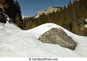 Snowy mountains in the Carpathians, Transylvania, Romania