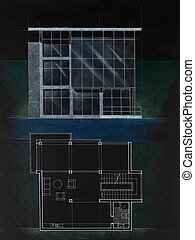 colored architectural blueprint of a modern house