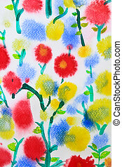colorful flower watercolor for background