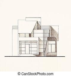 architectural facade blueprint of a modern house
