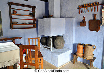 Traditional romanian house interior in Transylvania, Romania