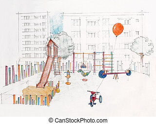 sketched, perspective, outdoors, children's, playground