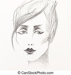 pencil sketch of beautiful woman's face - artistic black and...
