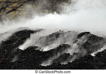 carbón, pila, abrasador