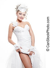 Happy smiling sexy beautiful bride blond girl in white wedding dress with hairstyle and bright makeup on white background