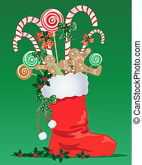 christmas stocking - an illustration of a red christmas...