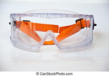 Protection eyeglass - protectin eyeglass on white background