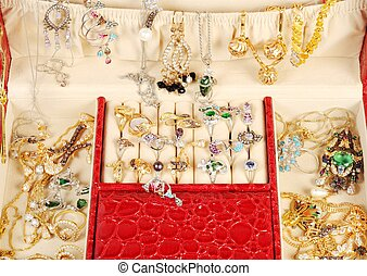 Treasure chest with gold and custom jewelry