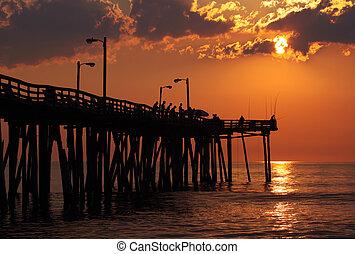 pescadores, salida del sol, pesca, muelle, norte, Carolina