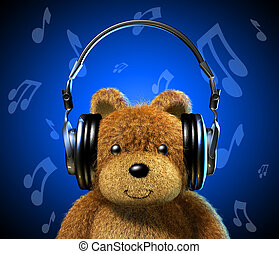 Teddy bear with music headphones. Frontal view with Blue...
