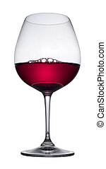 Red wine glass, isolated - Red wine glass on white...