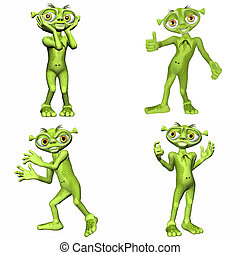 Alien Pack - Illustration of a pack of four 4 green aliens...
