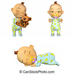 Cartoon Baby Pack - 1of2 - Illustration of a pack of four 4...
