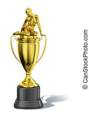 Trophy cup, with a sitting naked woman on the top. All in...
