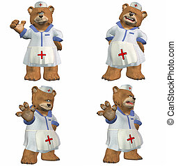 Nurse Bear Pack - 1of2 - Illustration of a pack of four 4...