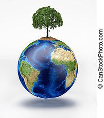 Planet earth with a tree on top On white background