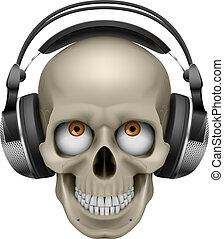 Human skull with eye and music headphones Illustration on...